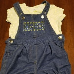 Carter's overalls and matching short sleeve shirt